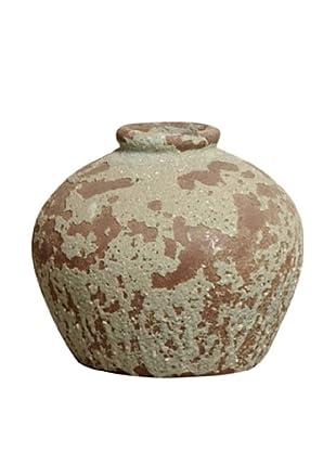 Emissary Ceramic Encrusted Sunken Urn (Rust/Gray)