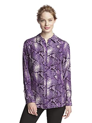 Craig Taylor Women's Second Skin Snake Print Boyfriend Shirt (Purple/white)