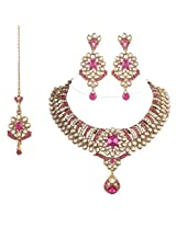 I Jewels Traditional Gold Plated Kundan Necklace Set with maang tikka for Women(Rani/Dark Pink)(K7024Q)