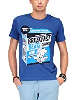 Yepme Men's Blue Graphic Cotton T-shirt -YPMTEES0380_M