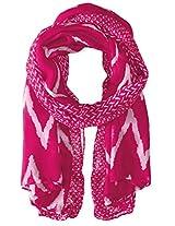 Saro Lifestyle Women's Ikat Printed Design Shawl, Fuchsia, One Size