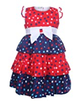 Baby Hug - Short Sleeves Tiered Frock With Bow At The Waist