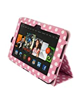 Kyasi Seattle Classic Folio Case with Sleep, Wake and Magnetic Close for Kindle HD, Pink Polka Dots