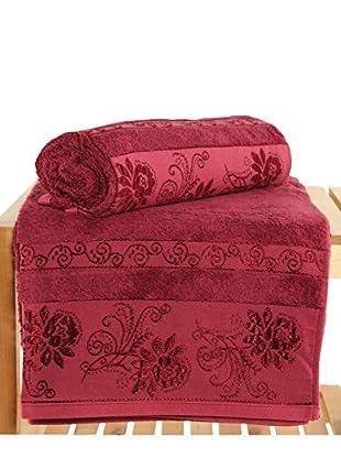 Maisonette Selen 2-Piece Bath Towel Set, Claret Red