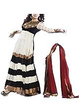 Pairahan Women's Georgette Unstitched Anarkali Suit (sus002_White_Free Size)