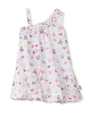 KANZ Girl's White Multi Dress (White Multi)