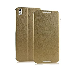 CaseMachinee Premium Luxury PU Leather Flip Stand Back Case Cover For HTC Desire 816 816G - Gold