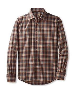 Mason's Men's Long Sleeve Woven Plaid Shirt (Chocolate Multi)