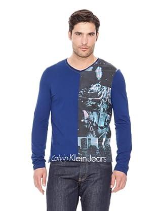 Calvin Klein Jeans Camiseta Cuello V M / L (Azul)