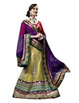 Anvi Creations Bridal Embroidered Net Lehenga Choli (Purple Lemon Yellow_Free Size)