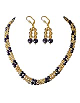 Surat Diamonds 2 Line Golden Yellow Citrin and Purple Amethyst Necklace Earring Set for Women (SN756)