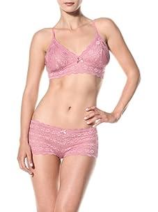 Cosabella Women's Jacqueline Soft Bra and Low Rise Hotpants Set (Cashmere Rose)