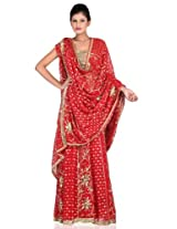 Chinese red embroidery lehanga unstitched