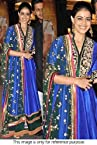 Bollywood Replica Genelia D'souza Cotton Silk and Dupain Silk Anarkali Suit In Blue Colour VND 16