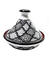 Le Souk Ceramique CT-BW-HA-22 Cookable Tagine, 9-Inch, Black/White/Honey