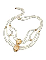 Surat Diamonds Gold Plated Pendant & Real Freshwater Pearl Necklace for Women (SP225)