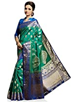 Meghdoot Artificial Silk Saree (VIVAAH_MT1248_GREENxROYALBLUE Woven Green and Royal Blue Colour Sari)