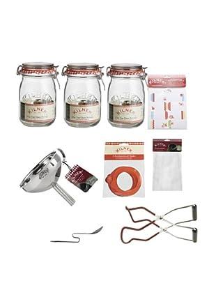 Kilner Set of 3 Clip Top Jars & Preserving Kit (Haberdashery)