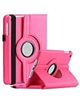 SAVEICON iPad Air 2 (iPad 6 , Released 2014) Case - Hot Pink PU Leather Case 360 Degree Swivel Rotating Magnetic Lychee Folio Case Cover Stand for Apple iPad Air 2 / iPad 6 6th Gen Tablet with Sleep and Wake Function