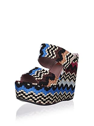 MISSONI Women's Platform Wedge Sandal (Black/pink)