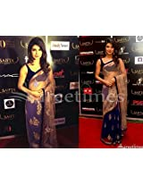 PRIYANKA CHOPRA IN BLUE NET SAREE AT SAIFTA AWARDS 2013