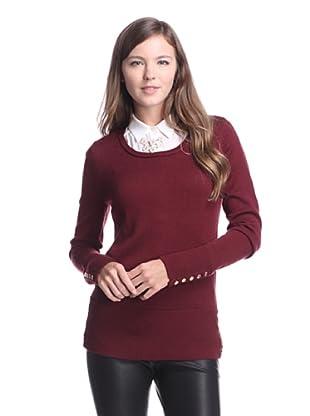 Calvin Klein Women's Sweater with Snap Detail (Zinfandel)