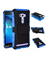 Chevron Tough Hybrid Armor Back Cover Case with Kickstand for Asus Zenfone 2 Laser 5.0inch ZE500KL (Blue)