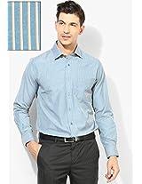 Blue Striped Slim Fit Formal Shirt Peter England