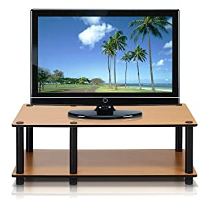 Furinno 11174LC(BK)/BK Just Mid Light Cherry Television Stand with Black Tube