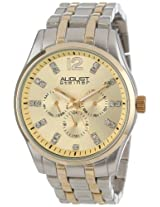 August Steiner Men's AS8068TT Two-Tone Bracelet Watch with Crystal Markers