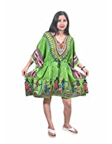 Indiatrendzs Women's Caftan Green Print Short Sexy Nightwear Nighty
