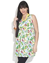 Diva Women's Cotton Floral Bloom Empire Line Green Kurti - M