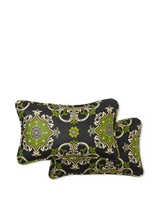 Set of 2 Garden Crest Rectangle Decorative Throw Pillows (Onyx)