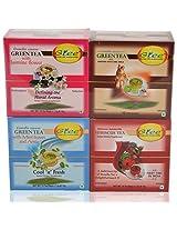 GTEE Green Tea Bags-Jasmine & Green Tea Bags - Ginseng & Hibiscus Tea Bags & Green Tea Bags-Mints(10 Tea Bags X 4 PACKS)