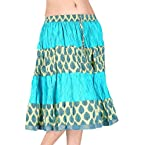 Little India Designer Ethnic Cotton Short Skirt - DLI3SKT159 (Turquoise)