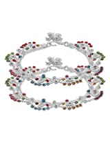 Voylla Traditional Silver Toned Anklets Decorated Beautifully With Multicolor Gleaming Stones
