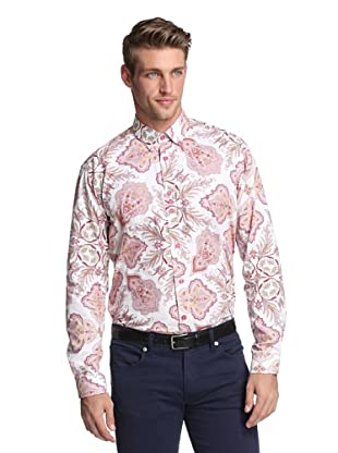 BG Men's Long Sleeve Juan Paisley Shirt (Pink)