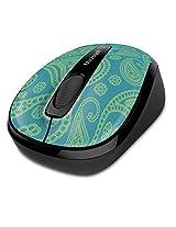 Microsoft Wireless Mobile Mouse 3500 Mint & Aqua Paisley