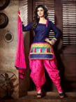 Ayesha Takia Blue Cotton Top With Cotton Bottom & Chiffon Dupatta Printed Work & Embroidery Unstitched Punjabi Patiala Salwar Kameez Suit