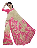Light pink &Off White Colour Georgette Casual Wear Leaf Print Saree 12025