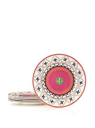 Bongenre Set of 4 Anya Susani Plates (Orange/Pink)