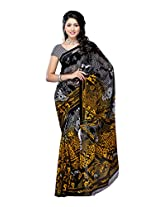 Ambaji Black & Yellow Coloured Dani Georgette Printed Saree