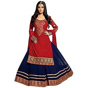 Riya Sen Red Blue Designer Anarkali Lehanga