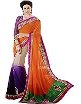 Multicolor Wedding Wear Saree Zari Cut Embroidery Work Faux Georgette Sari