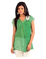 The Citrine Georgette Tunic-Green Cit-Pss-1063
