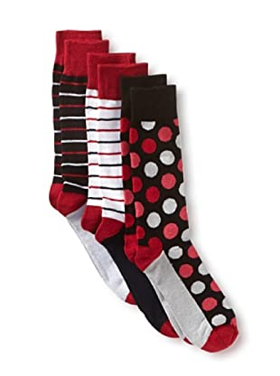 English Laundry Men's Colorful Dots and Stripes - 3 Pack Socks (Assorted)