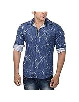 Studio Nexx Men's Cotton Shirt (Blue, Size - Large)