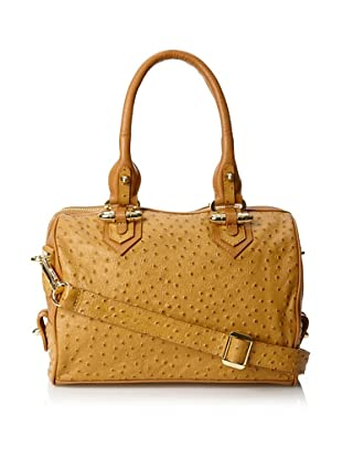 CC Skye Women's Luxe Madison Convertible Satchel, Tan Ostrich, One Size