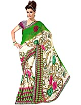Shree Bahuchar Creation Women's Chiffon Saree(Skb48, Green and White)