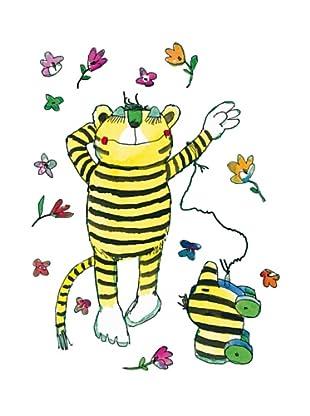 Beiwanda Kids Wandtattoo Tigerente und Tiger Blumenset